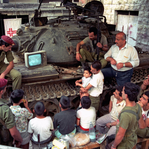 Militia men watching World Cup onTV 1981